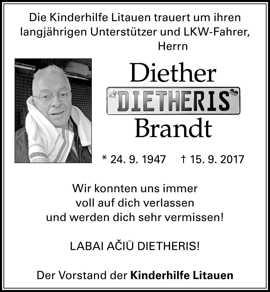Wir trauern um Diether Brandt - Sterbebild