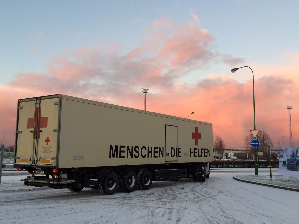 Reisetag 8 Weihnachtstransport 2016 - Morgenrot in Klaipéda