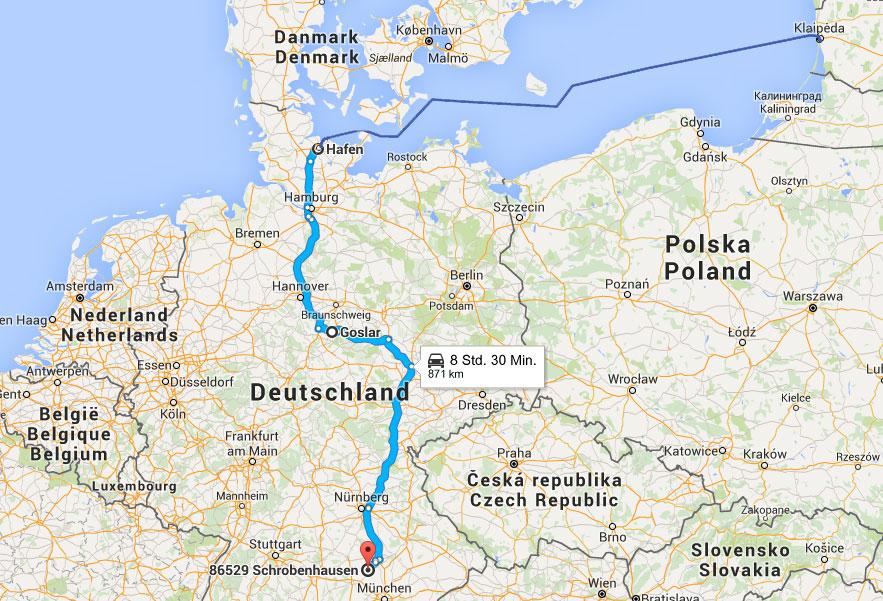 Route der Heimreise mit der Fähre