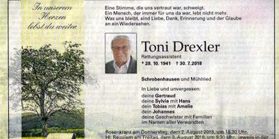 Wir trauern um Toni Drexler