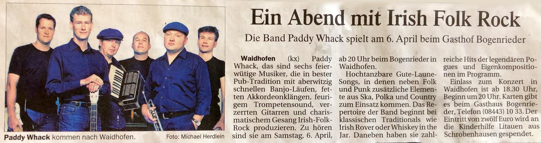 Zeitungsartikel Ankündigung Paddy Whack spielt am 6. April im Gasthaus Bogenrieder Waidhofen