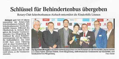 Kurzfilmfestival Aichach Schlüsselübergabe Behindertenbus durch Rotaryclub Aichach-Schrobenhausen