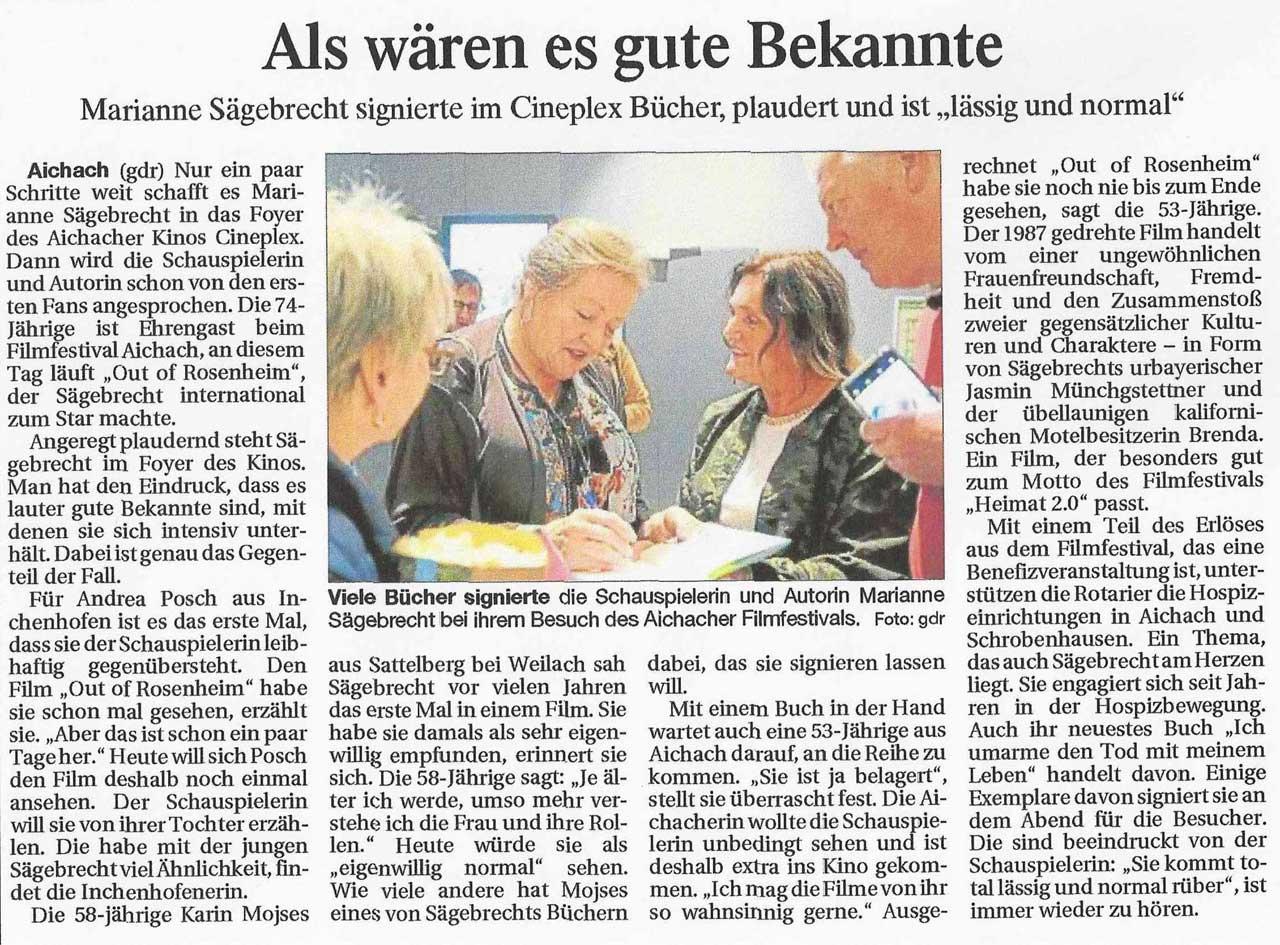 Kurzfilmfestival Aichach Out of Rosenheim und Marianne Sägebrecht