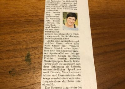 Zeitungsartikel zum Benefizsporteln