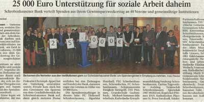 Schrobenhausener Bank verteilt 25000 € an soziale Projekte