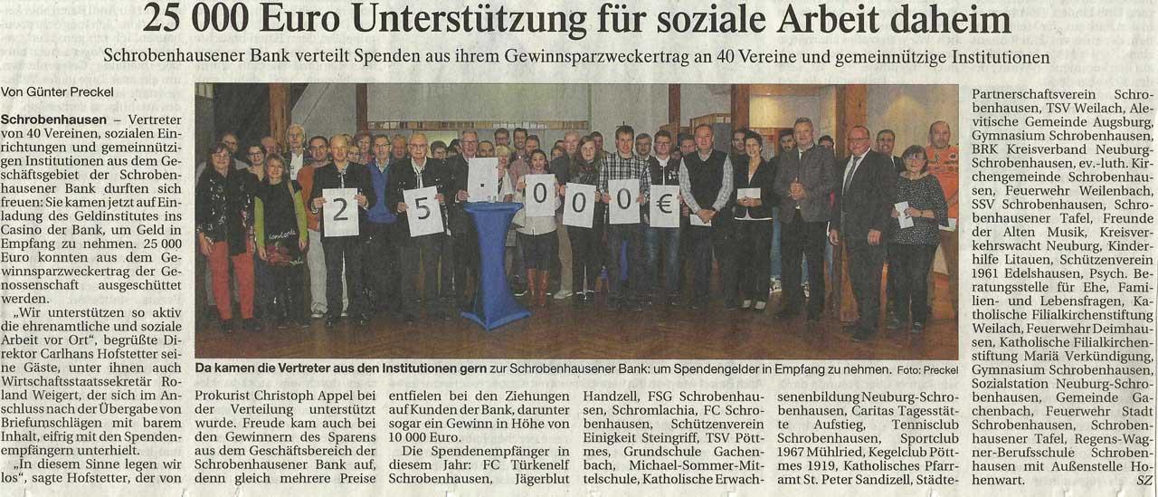 Zeitungsartikel zu Spendenübergabe durch Schrobenhausener Bank