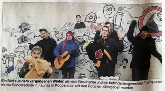 Übergabe Transporter (Aktion Rotarier Schrobenhausen) und Geschenke Weihnachten 2019