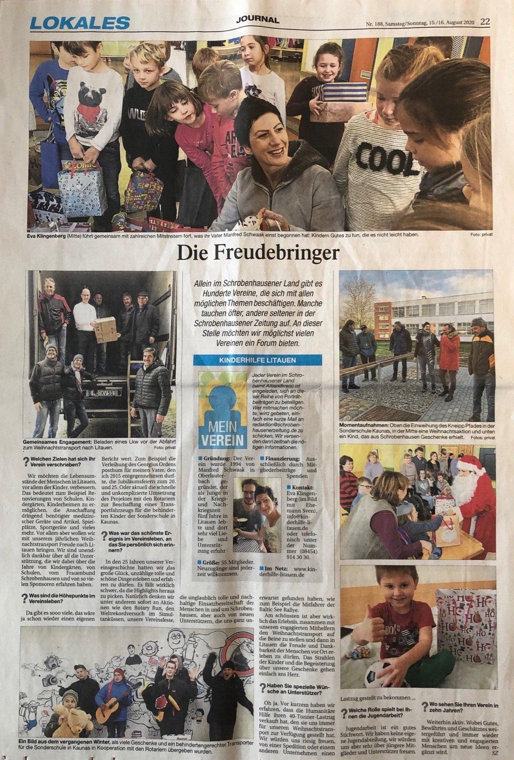 Die Freudenbringer Zeitungsartikel Vereine in und um Schrobenhausen