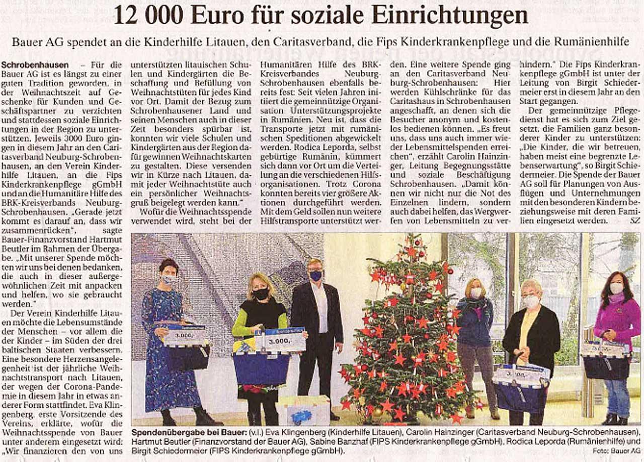 Bauer AG spendet 12000 Euro