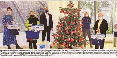 Bauer AG spendet 12000 Euro für soziale Zwecke