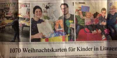 1070 Weihnachtskarten für Kinder in Litauen