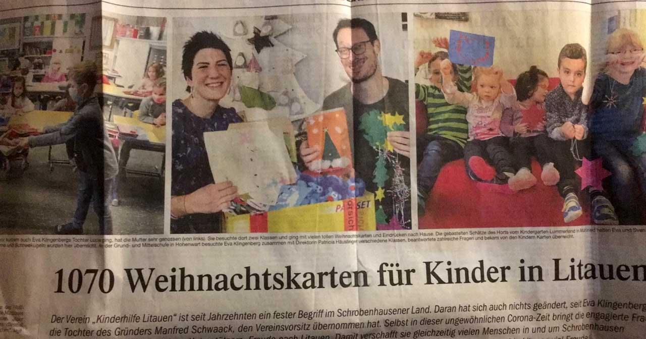 Zeitungsartikel 1070 Weihnachtskarten für Kinder in Litauen