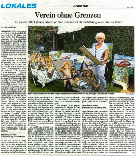 Verein ohne Grenzen Zeitungsartikel Schrobenhausener Zeitung Lokals am 31.08.2021
